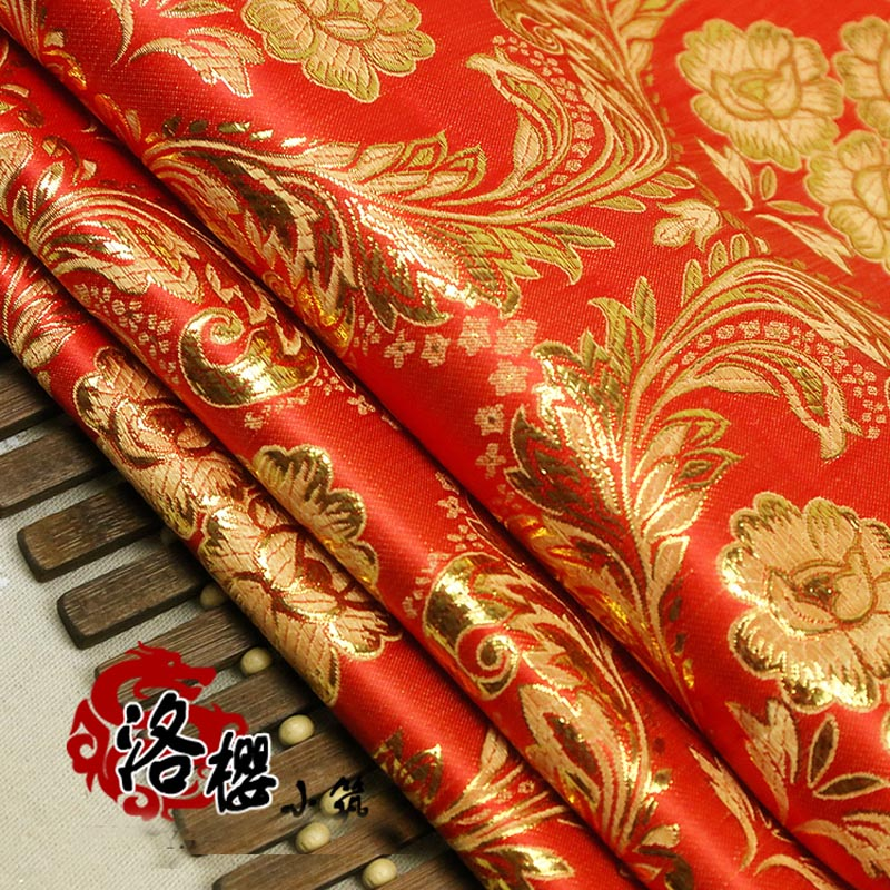 Jacquard damask Costume hanfu kimono cos festive wedding dress cheongsam gold cloth woven Phoenix flowers brocade fabric