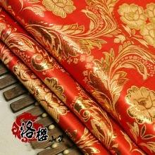Jacquard damask Costume hanfu kimono cos festive wedding dress cheongsam gold cloth woven Phoenix flowers brocade fabric