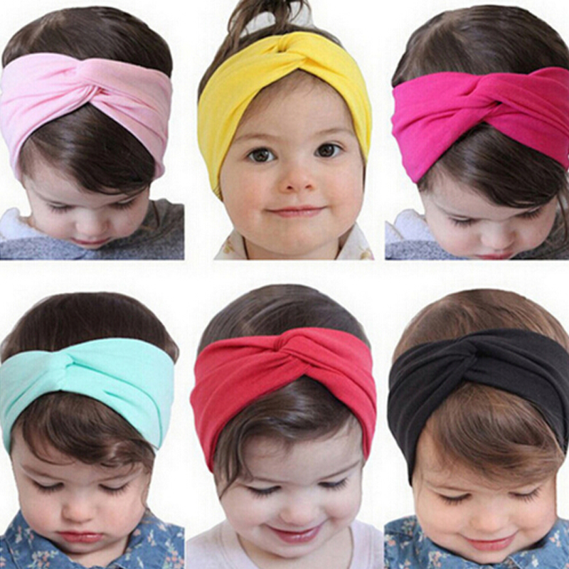 1PCS Headwear Stretch Twist Flower Headband Turban Head Wrap Bandana Kids Hair Bands Kids Hair Accessories