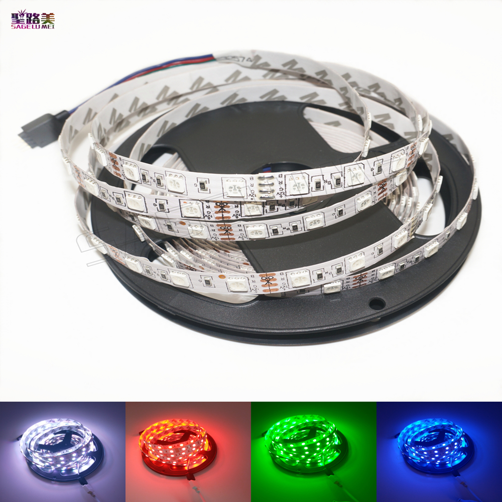2017 New Version 5m/lot DC12V 5050 SMD 60leds/m RGB Led Flexible Light Strip 300leds Non-waterproof White PCB Led Tape Bar Light