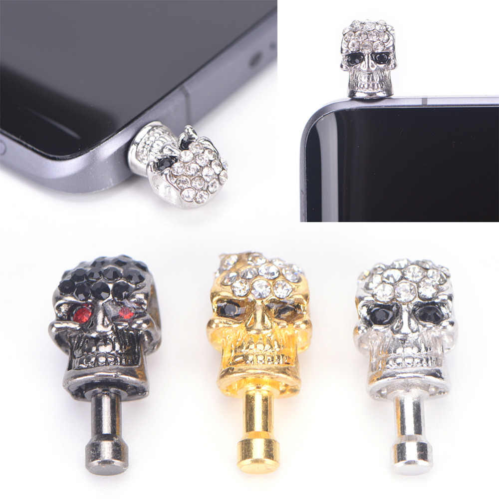 1X diamond skull head general dust plug mobile phone headset dust plug