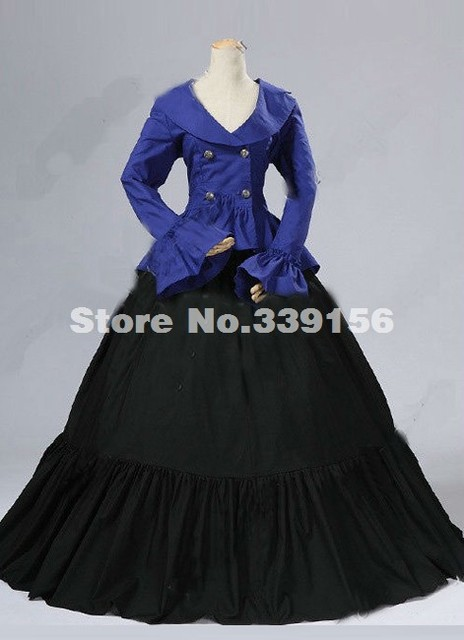 fbcbe7215660 Brand New Noble Blue Long Sleeves Renaissance Gothic Victorian Ball Gowns,Civil  War Victorian Dresses Costumes