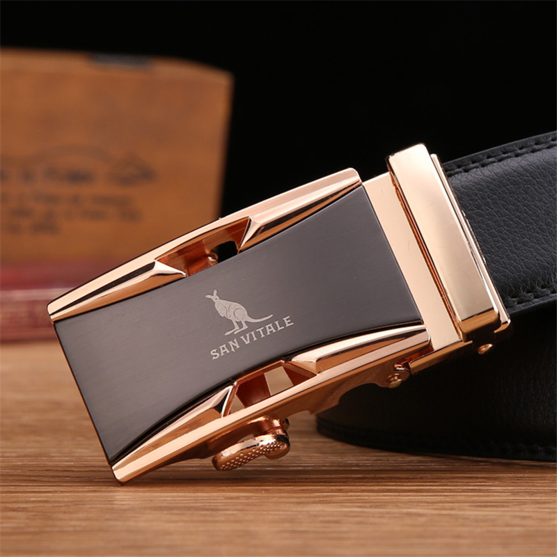 Famous Brand <font><b>Belt</b></font> Men 100% Good Quality Cowskin Genuine Luxury Leather Men's <font><b>Belts</b></font> for Men,Strap Male Metal Automatic Buckle image