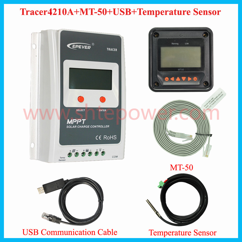 EPsolar Tracer4210A 40A 12V 24V MPPT Solar Charge Controller with MT50 Panel meter & PC communication remote temperature sensor home mppt solar portable controller epsolar 10a 10amp tracer1215bn with mt50 meter and usb pc cable connect software