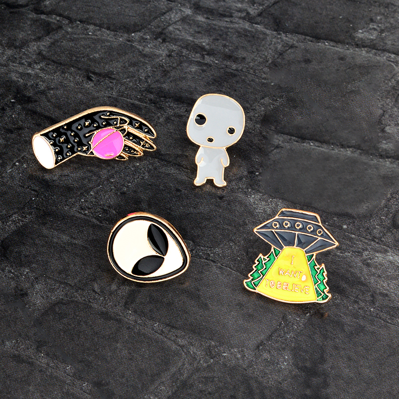 Cartoon UFO Hand Alien baby Planet Brooch Pin Metal Enamel Pins Button Backpack Clothes Collar Pin Badge Icon Gift For Kids