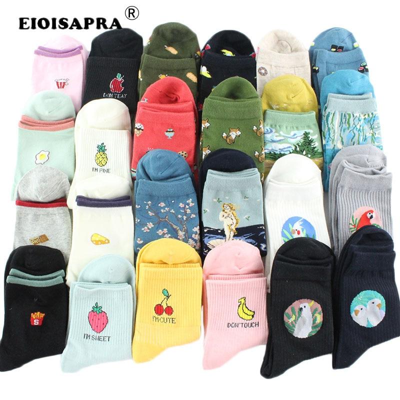 [EIOISAPRA]Food Fruit Pineapple Funny Socks Sushi/Bird/Art Oil Painting Divertidos Characters Socks Women Chaussette Femme S