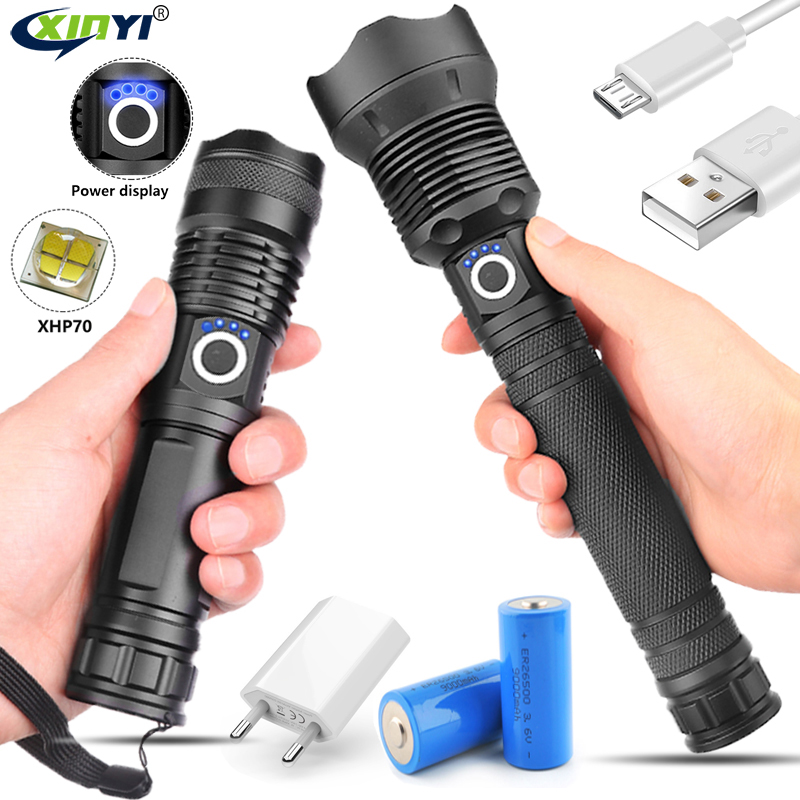 Lampe 50000 Lumens xhp70.2 lampe de poche la plus puissante usb Zoom torche LED xhp70 xhp50 18650 ou 26650 batterie pour Camping en plein air