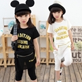 Size110-160cm Children's clothing female child set 2017 kids summer short-sleeve 100% big girls cotton twinset girl clothing set