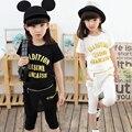 Size110-160cm roupa das Crianças set criança do sexo feminino 2017 crianças verão curto-luva 100% de algodão meninas grandes roupas twinset menina conjunto