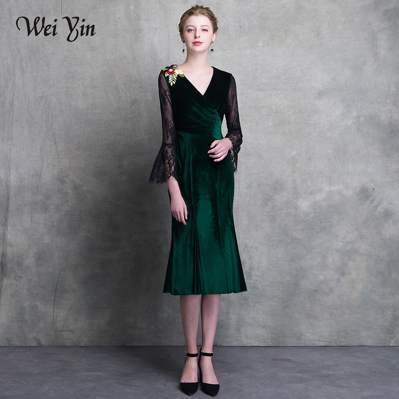 WEIYIN 2019 dark green short   cocktail     dress   v neck long sleeves lace zipper knee length   cocktail     dresses   formal party   dress