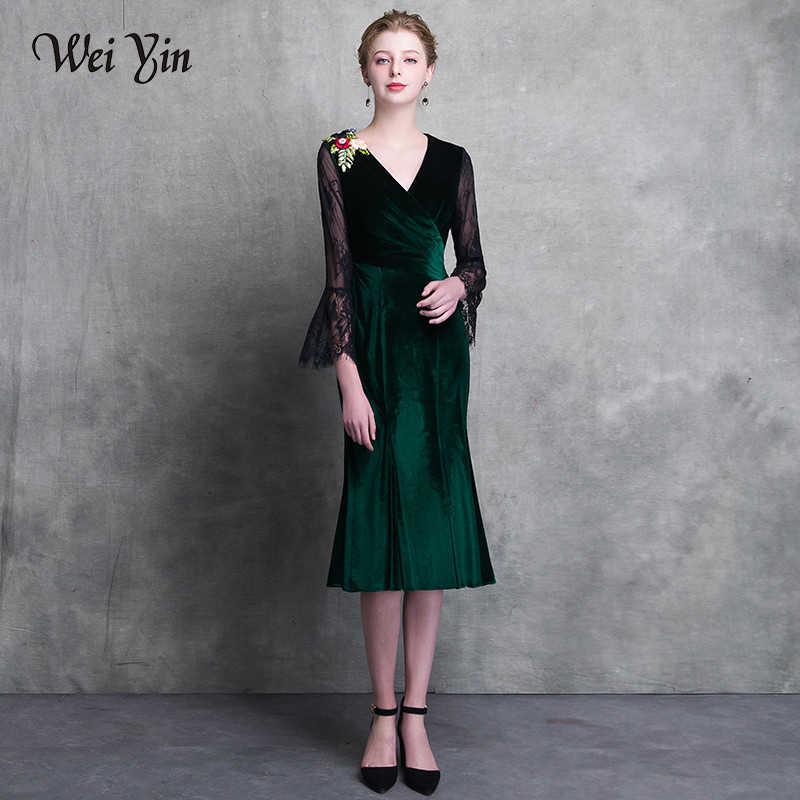7a1374e74ab2980 WEIYIN 2019 темно-зеленое короткое коктейльное платье с v-образным вырезом  и длинными рукавами