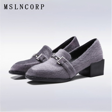 Plus Size 34-43 New women square heel Casual Shoes Fashion flock Square Toe lady Loafers high heels Party office pumps Footwear