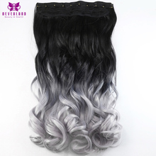 Neverland Beauty & Health 24″ 60cm 5 Clips Wavy Silver Grey Ombre Synthetic Hairpieces Clip-in One Piece Hair Extensions