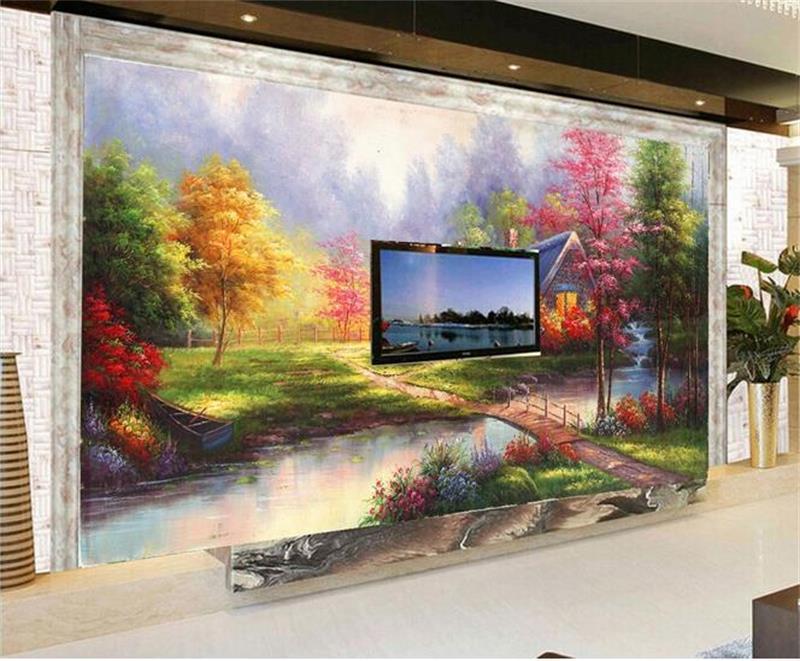 3D Wallpaper Custom Foto Kertas Dinding Ruang Tamu Lukisan