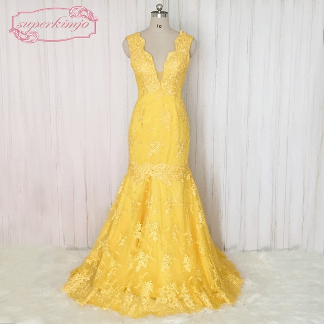SuperKimJo Vestido De Festa Longo Para Casamento Mermaid Yellow Evening  Dress 2017 Elegant Evening Gown Appliqued Party Dress 0dd651bd7f88