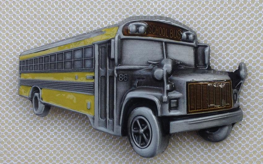 Pewter Belt Buckle Vehicle School Bus NEW