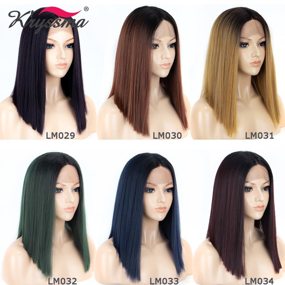 Perruques blondes pour femmes racines noires 4 ''longue séparation synthétique dentelle avant perruque T partie 2 tons courte perruque droite sans colle 6 couleurs - 2