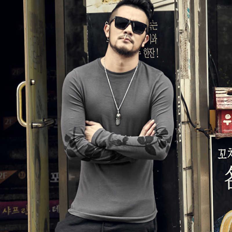 Homens flor impressa t-shirt dos New slim fit t shirt dos homens do algodão t-shirt casual masculino de manga comprida pulôver o pescoço roupas de marca t-19