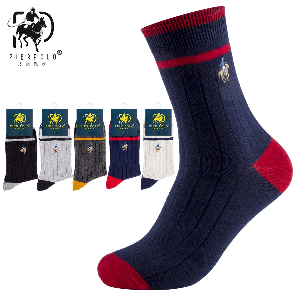 High Quality Brand PIER POLO Spell Color Striped Socks Fashion Cotton Crew Socks Business Embroidery Autumn Winter Men's Socks