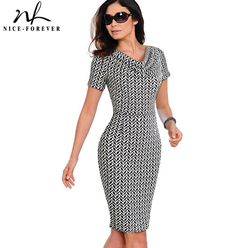 Nice-forever Women Vintage Wear to Work Elegant vestidos Business Party Bodycon Sheath  Office Ruffle Female Dress B452 short dresses office wear