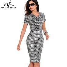 נחמד לנצח נשים בציר ללבוש לעבודה אלגנטית vestidos המפלגה עסקי Bodycon נדן משרד לפרוע נשי שמלת B452