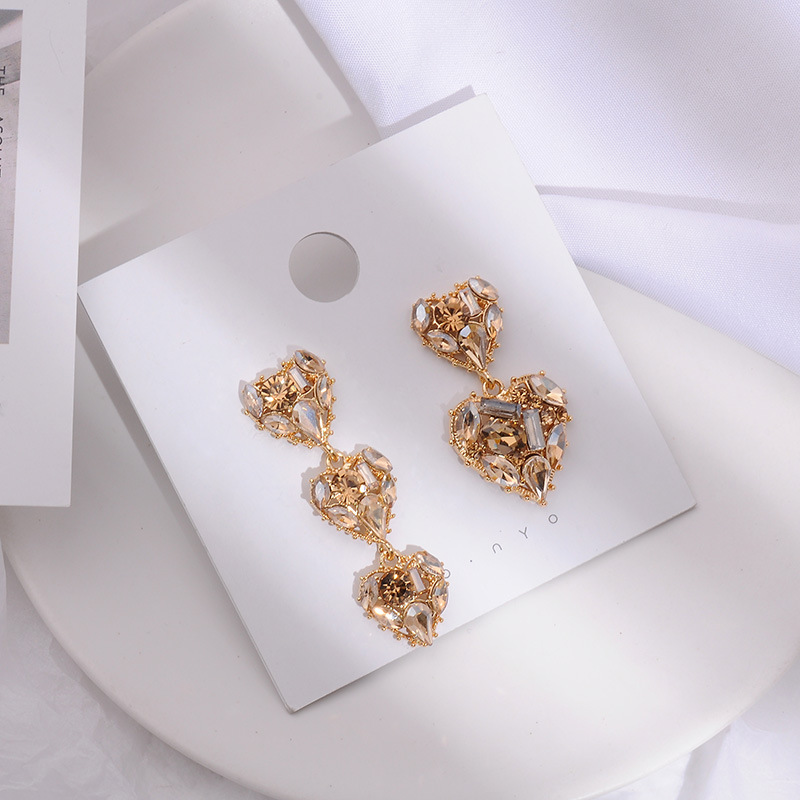 MENGJIQIAO 2019 New Korean Vintage AB Style Full Shiny Crystal Heart Drop Earrings For Women Fashion Luxury Asymmetric Jewelry