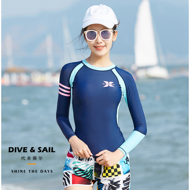 0f1bb7008f Dive Sail girls women rash guard suit 2pcs set beach swimsuit long sleeve  swimwear UV50+ Sun protection for beach swimming surf