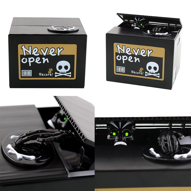 New Creative Unique Automatic Stealing Money Skull Skeleton Statue Coin Saving Box Money Bank For Children Gift