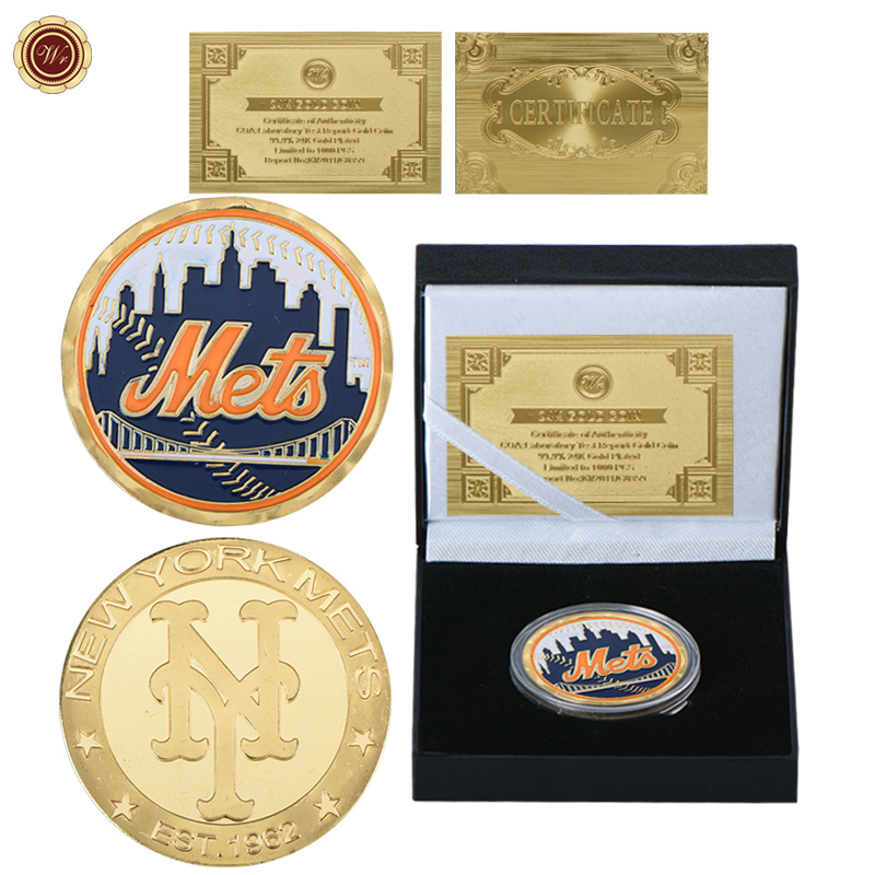 WR New York Mets Gold Coins Collectibles Souvenir Coin with Capsule US Football Team Copy Coins for Collection