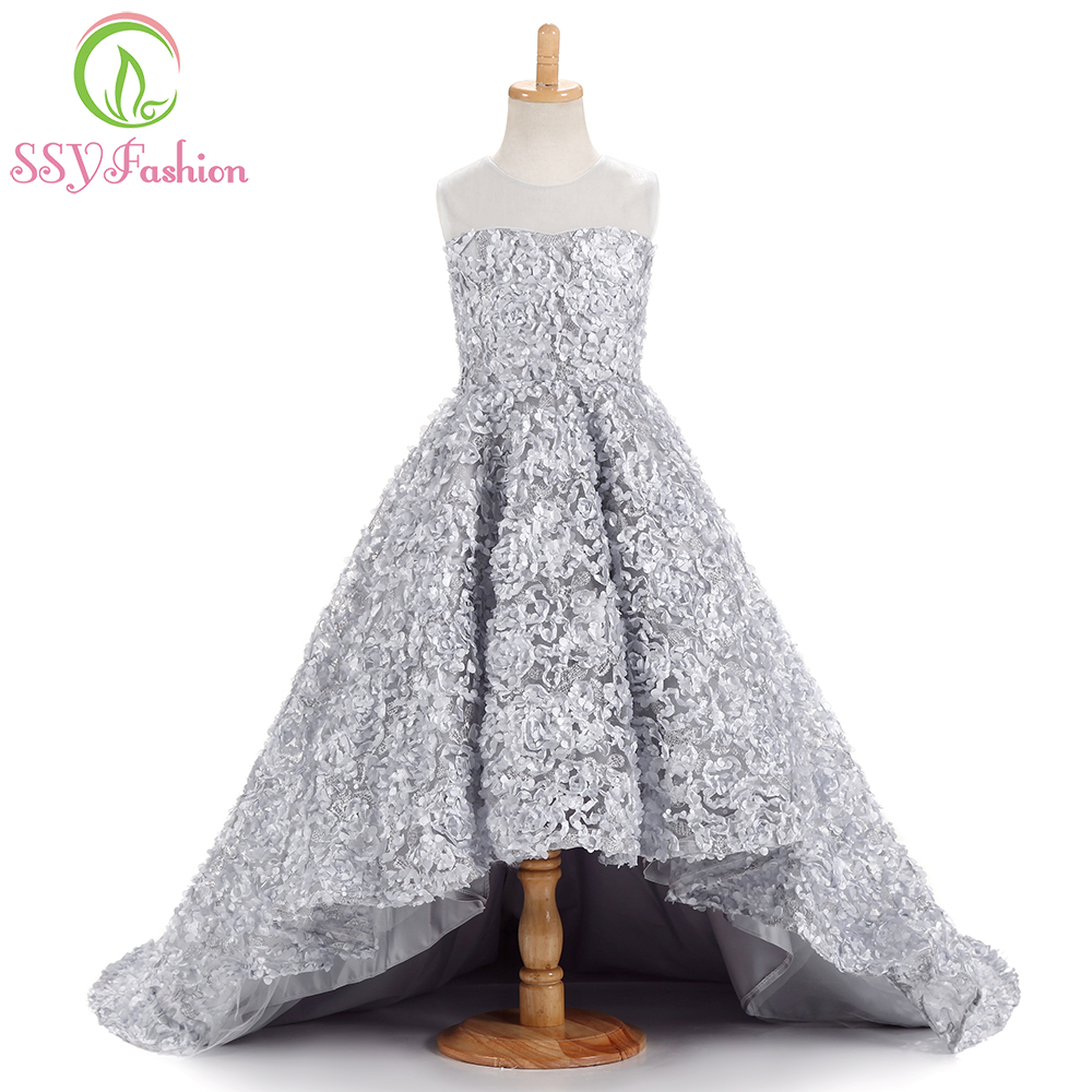Hot Sale Ssyfashion 2017 New Sweet Pink Lace Flower Girl Dresses For