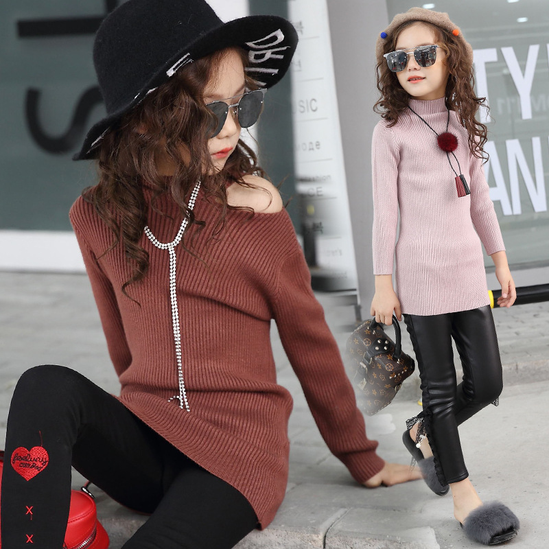 2017 New Kids Knit Shirt Girls Winter Dress Children Sweaters Off Shoulder Shirt Fashion Cotton Clothes,4-14Y,#2459 pink solid color off shoulder crop bodycon sweaters vests