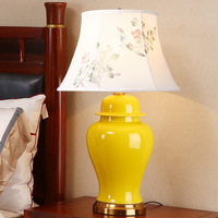 High End Classical Elegant Hand Painted Yellow Chinese Ceramic Fabric E27 Table Lamp For Living Room
