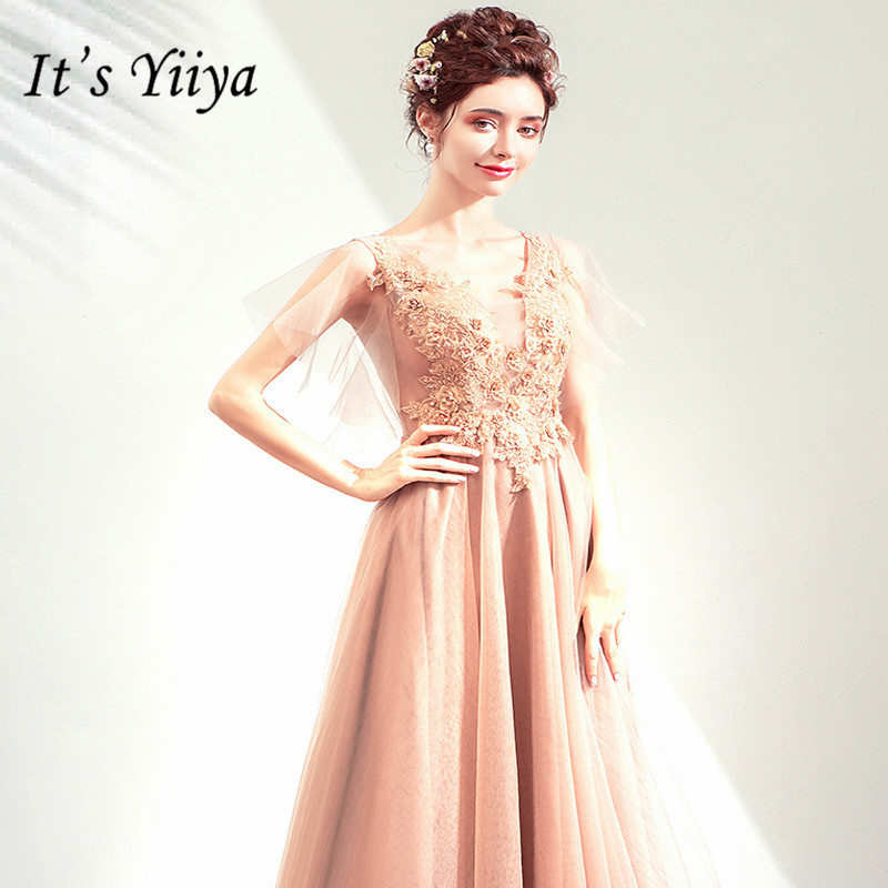 It's YiiYa   Prom   Gowns Champagne Gold V-neck Short Sleeves A-Line Floor Length Party   Dress   Custom Plus Size   Prom     Dresses   E228