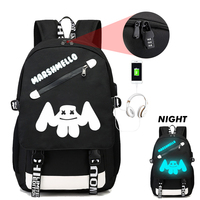 BPZMD Luminous Backpack DJ Marshmallow Anti Theft USB Charging Backpack For Teenagers Students School Bags Travel Portable
