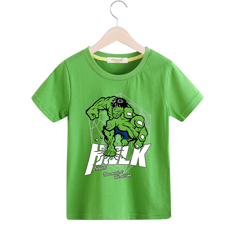 2018 Children New Cartoon 3D Hulk Print T-shirt Boy Girl 100%Cotton Short Sleeve Tee Tops Clothes Kid Hero T Shirt Costume TX003 rose print marled tee