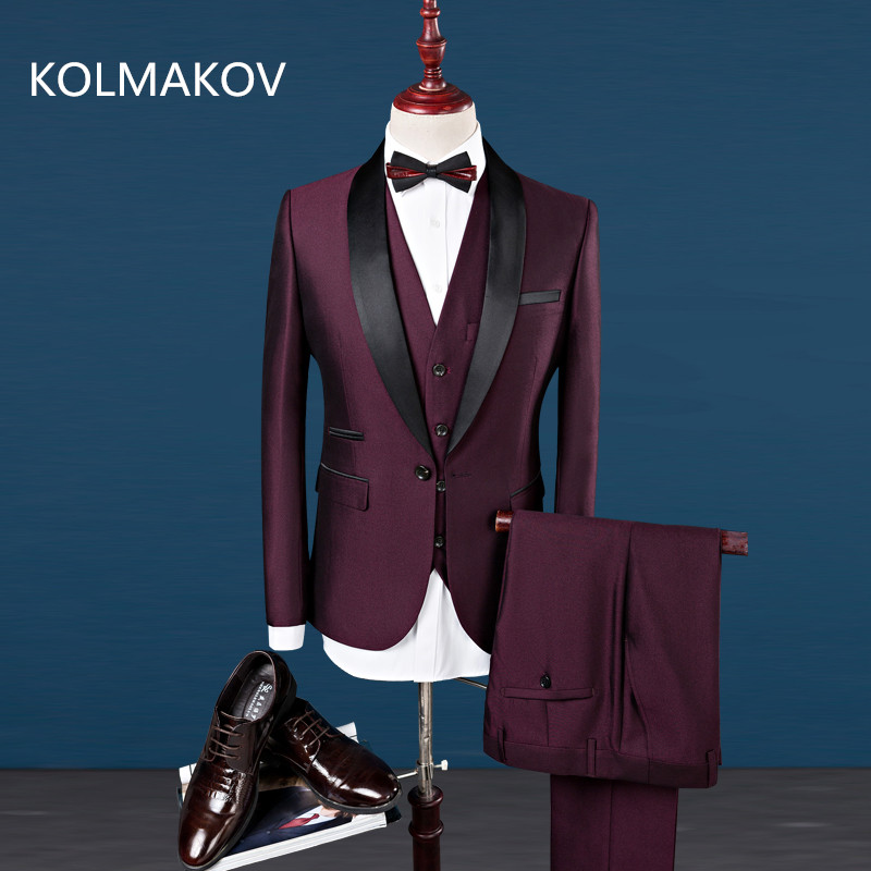 2018 new mens dress Luxury Mens Suit Jacket Pants Formal Dress Men Suit Set men wedding suit groom tuxedos (jacket+pants+vest) ...