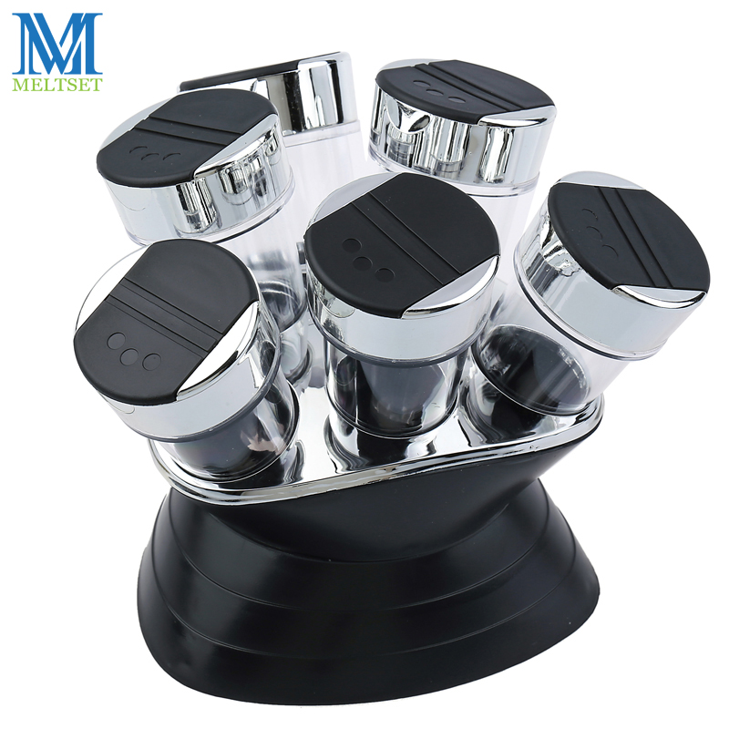 7stk Condiment Set Pepper och Salt Cruet Plast Kök Spice Rack Set 6st Jars + 1pc Rack Black