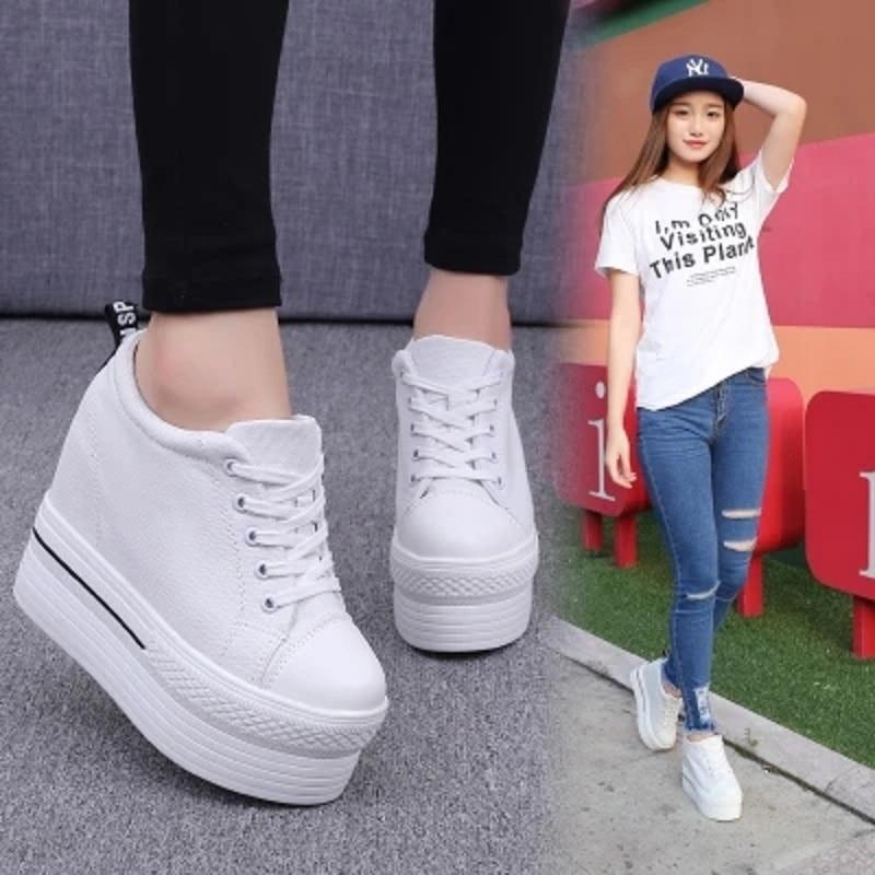 Chaussures Épais 2 Femmes forme Chaussures Toile Respirant Plate Automne De La 2018 Coréenne Joker Version Nouvelle 1 Fn6R16