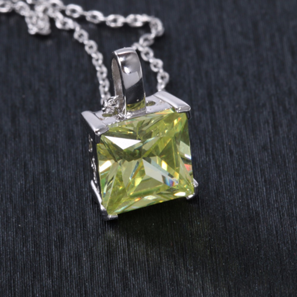 Pure Stone Necklaces Pendants Best Quality Pendant Necklace For Women Wedding Party Jewelry 5 Colors White Yellow Pink Green in Pendant Necklaces from Jewelry Accessories