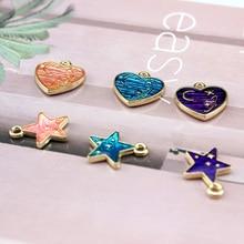 6pcs korean girl cute stars earrings fashion heart-shaped drop for women alloy oil handmade jewelry accessories