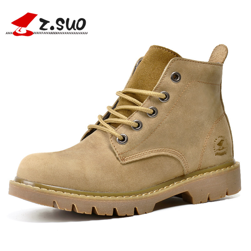 eda3d34e5d9 US $39.01 17% OFF|Z.SUO Brand 307N Women's Autumn Winter Fashion Nubuck  Leather Tooling Boots High Quality Crazy Horse Leather Woman Work Boots-in  ...