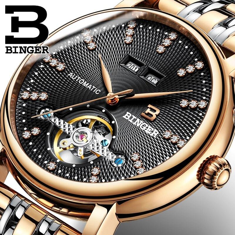 Switzerland NEW BINGER Men's Watch Luxury Brand Diamond Sapphire Automatic Mechanical Watches Skeleton Waterproof Clock B-1173-1