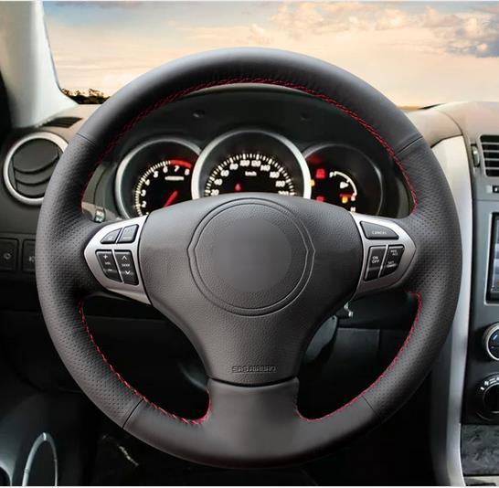 Couvre-volant de voiture en cuir artificiel noir pour Suzuki Grand Vitara 2007-2013