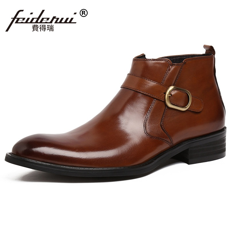 Fashion Business Luxury Brand Man Ankle Boots Top Quality Genuine Leather Cow Men's Round Toe Martin Motorcycle Flat Shoes FD71 new arrival luxury man casual shoes genuine leather cow comfortable loafers round toe designer brand men s business flats gd20