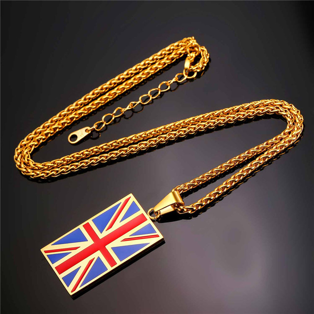 New Hot England National Flag Pendant Stainless Steel/Gold Color UK Patriot Necklace Women/Men Jewelry 2017 Wholesale GP2446 1