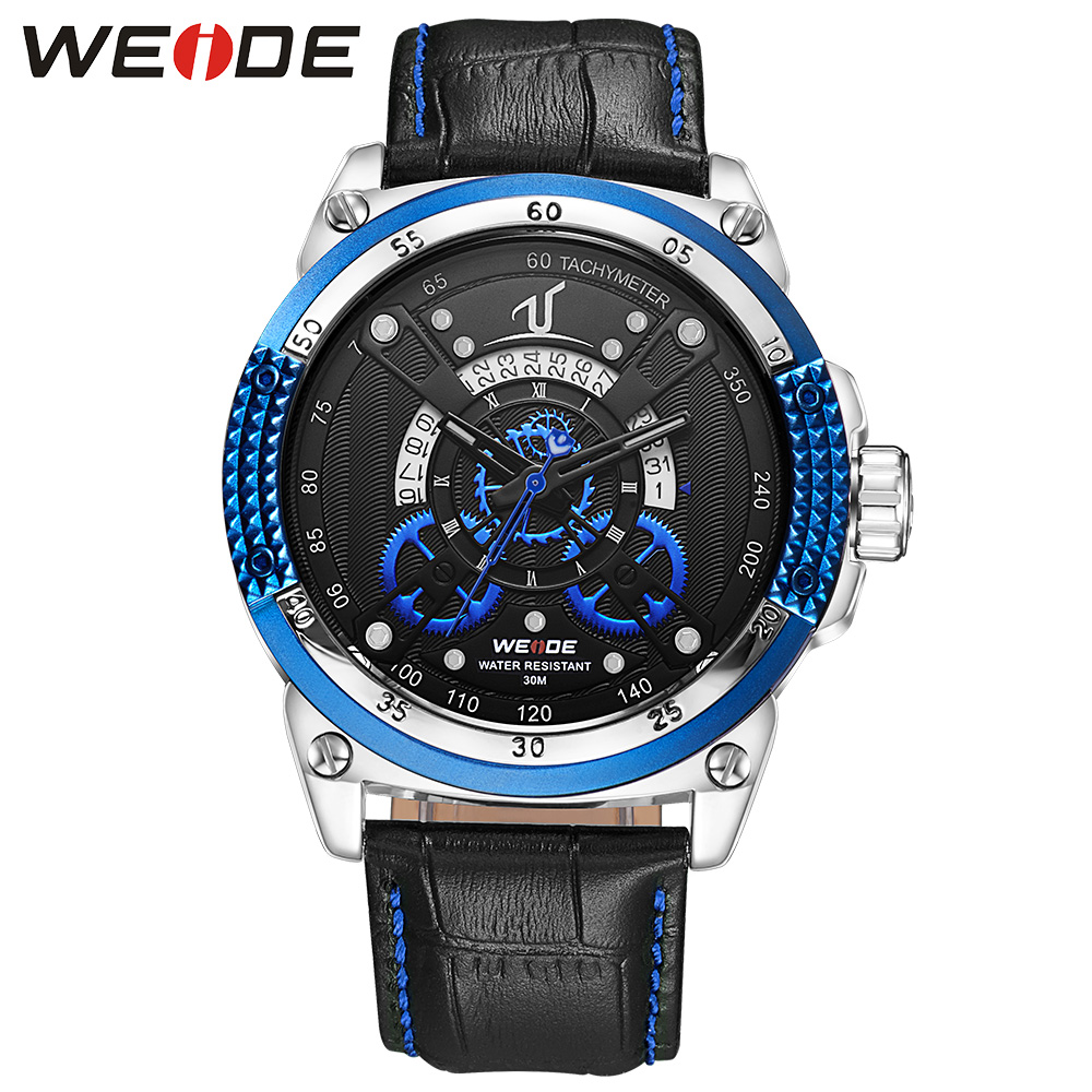 WEIDE Fashion Casual Leather Strap Sports Watches Men's Quartz Clock Man Army Military Waterproof Unique Blue Wrist Watch Gift weide 2017 new men quartz casual watch army military sports watch waterproof back light alarm men watches alarm clock berloques