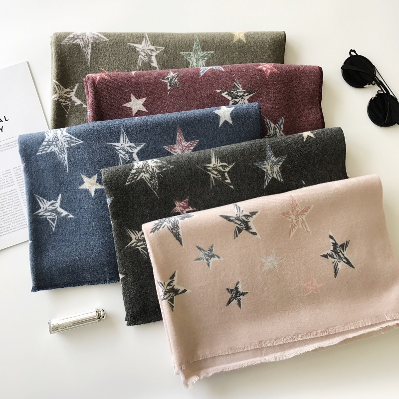 Cashmere Scarf Women Stars Print Winter Scarf For Ladies Long Warm Shawl Fashion Pashmina Collar Blanket Wraps Christmas Scarf