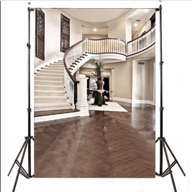 5X7FT Vinyl Photography Background Interior Staircase Hall Mansion  Photographic Backdrop For Studio Photo Props 1.5 X
