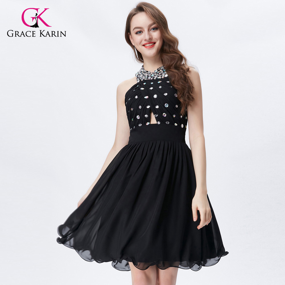 ⑦Grace Karin Short Prom Dresses For Teens Halter Chiffon Backless ...