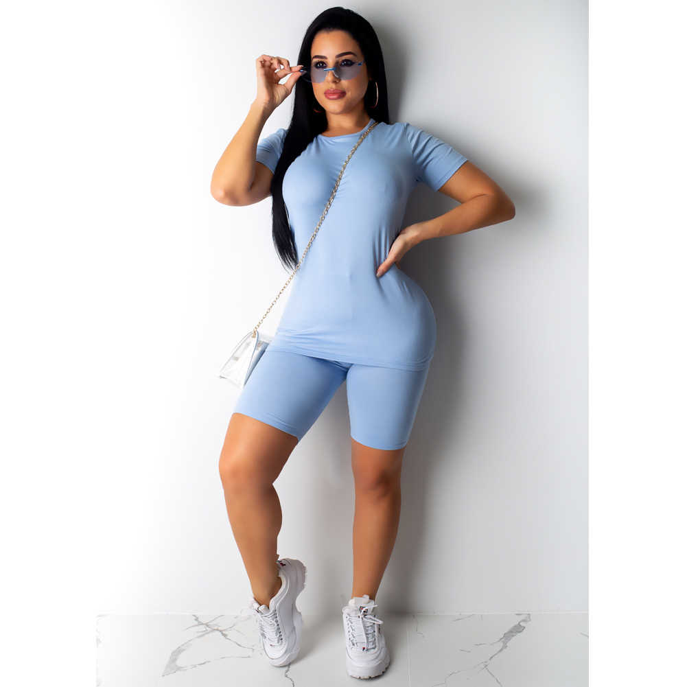 2 個固体セット女性スポーツ Cottton スーツ半袖スキパンツ衣装ランニングトレーニング服トラックスーツ夏セット